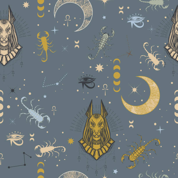 Seamless pattern of egyptian god Anubis with scorpion, moon and constellation. Alchemy and astrology vibes. vector art illustration