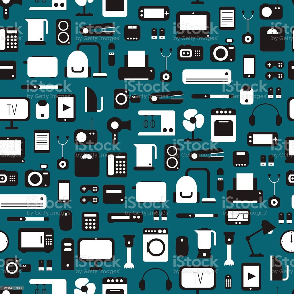 Seamless pattern of electronic devices and home appliances icons set. vector art illustration