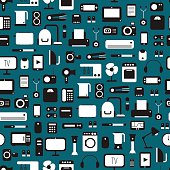 Seamless pattern of electronic devices and home appliances icons set.