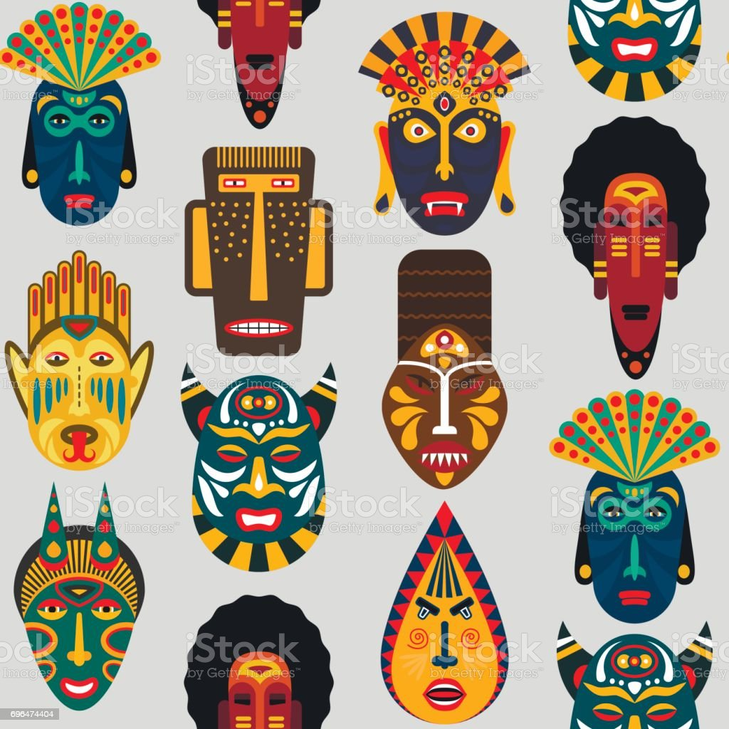 Seamless pattern of ethnic masks in flat style. EPS10 vector background of african tribal masks. vector art illustration