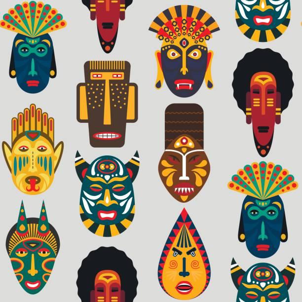 ilustrações de stock, clip art, desenhos animados e ícones de seamless pattern of ethnic masks in flat style. eps10 vector background of african tribal masks. - afro latino mask