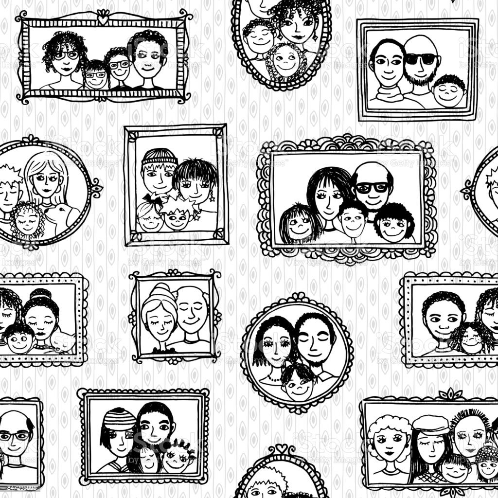Seamless pattern of family portraits royalty-free seamless pattern of family portraits stock vector art & more images of adult