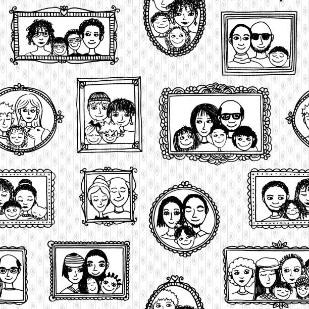 Seamless pattern of family portraits vector art illustration