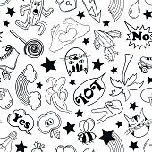 Black and white funny seamless pattern of fashion stickers, emoji, pins or patches in cartoon 80s-90s comic style.