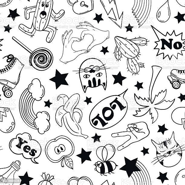 Seamless pattern of fashion stickers in 80s90s comic style vector id637369528?b=1&k=6&m=637369528&s=612x612&h=vzscugzag0xmw4pdlubyduc mstyccqaoycy950nyvq=