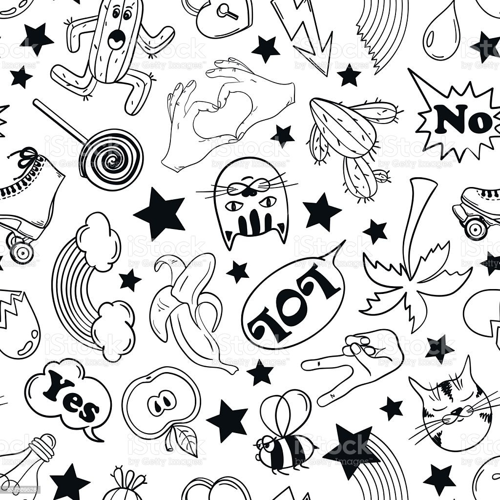 Seamless Pattern Of Fashion Stickers In 80s-90s Comic Style. vector art illustration