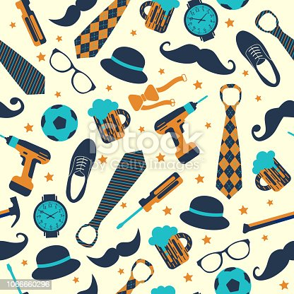 Seamless pattern of Fathers day. Flat icons on white background.