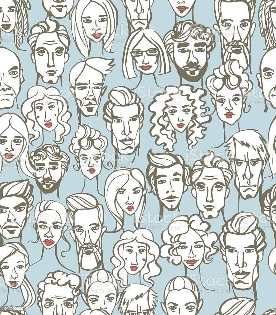 Seamless pattern of female and male doodle hand drawn portraits. - Royalty-free Abstract vectorkunst