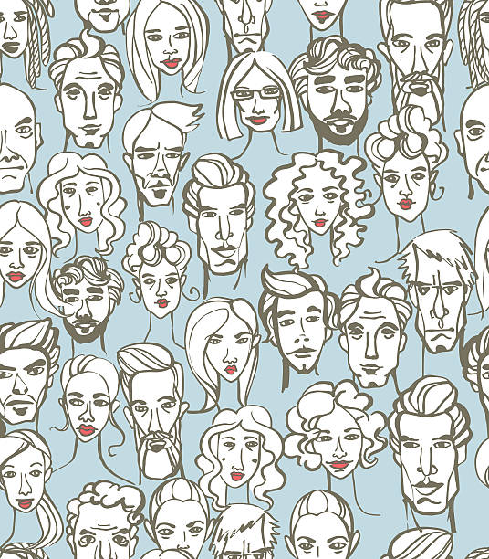 stockillustraties, clipart, cartoons en iconen met seamless pattern of female and male doodle hand drawn portraits. - portait background