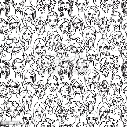 Vector illustration Seamless pattern of female doodle hand drawn portraits.Black and white