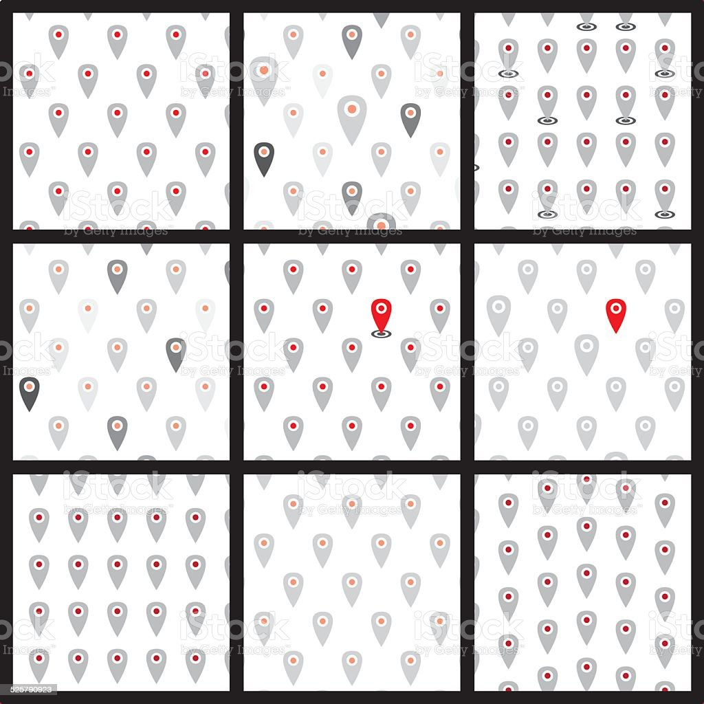 Seamless pattern of flat icons location. Vector set. vector art illustration