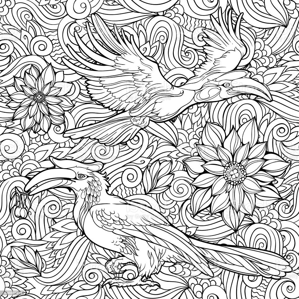 seamless pattern of flowers and parrots. vector art illustration
