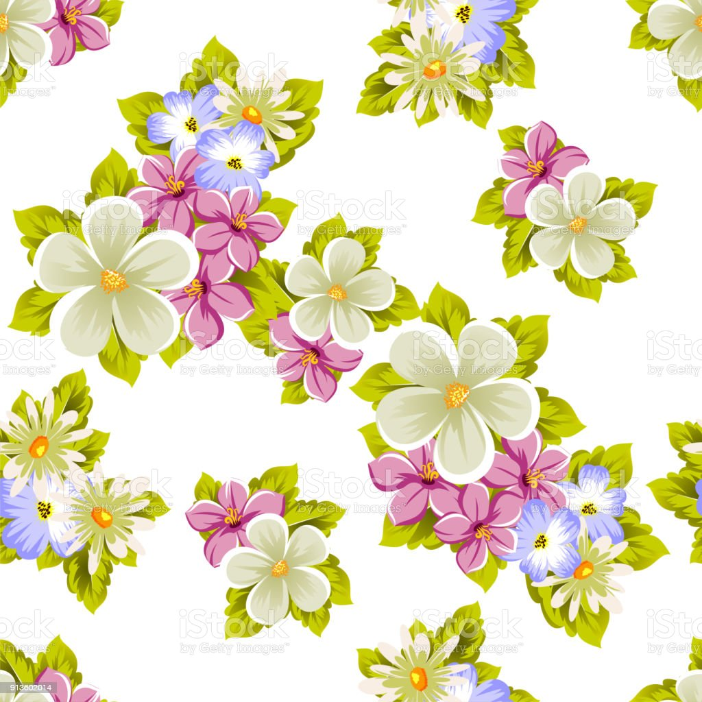 Seamless Pattern Of Flowers For Design Textures Postcards Greeting