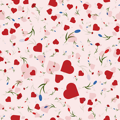 seamless pattern of flowers, roses, hearts and tulips with translucent back background