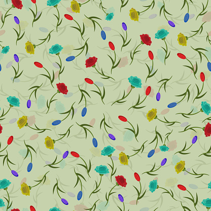 seamless pattern of flowers, roses_2_and tulips with translucent background