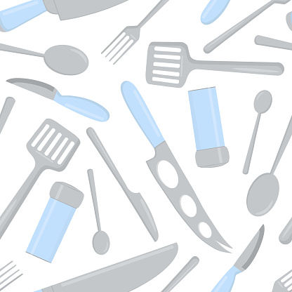 Seamless pattern of food cutlery and kitchen tools.