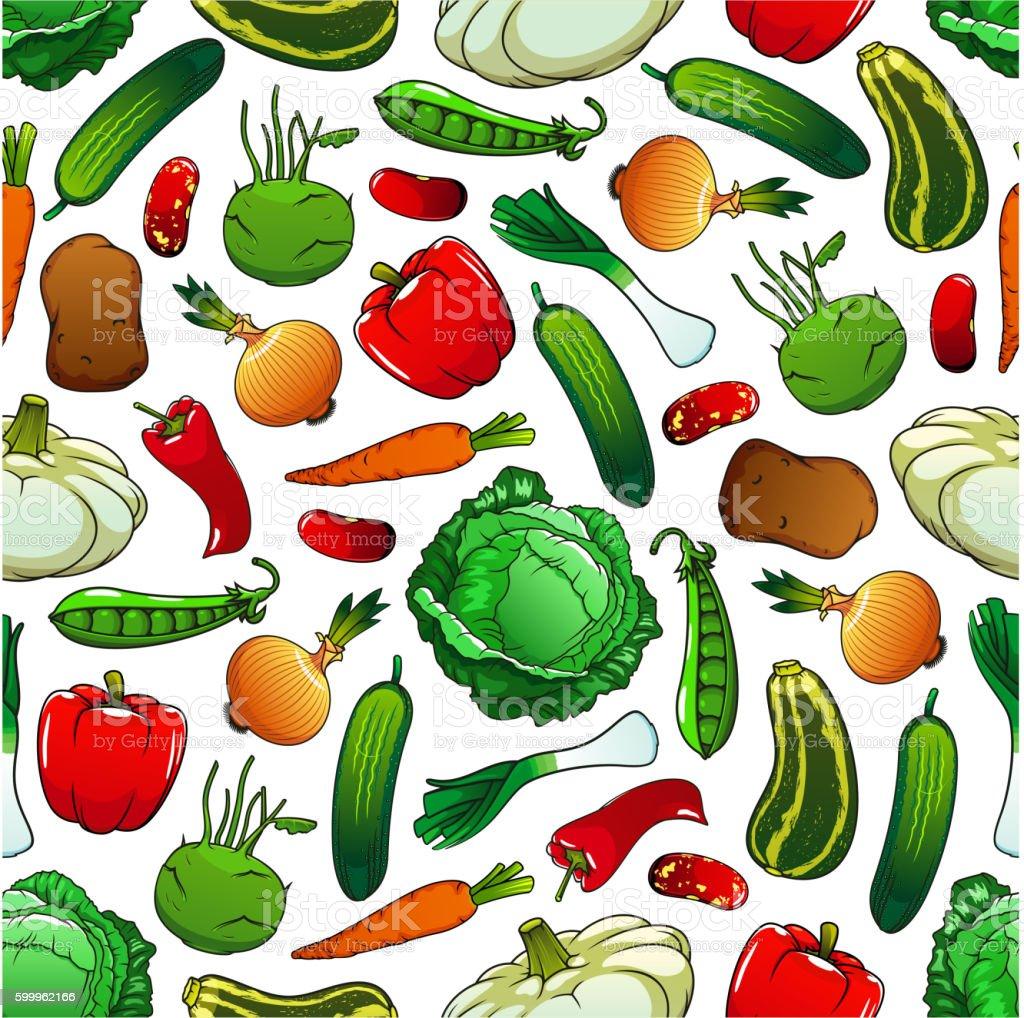 Seamless pattern of fresh vegetables vector art illustration