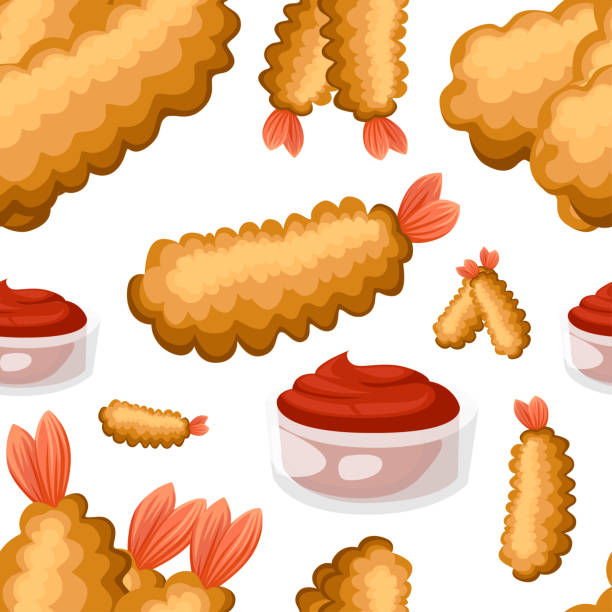 ilustrações de stock, clip art, desenhos animados e ícones de seamless pattern of fried shrimp. tempura with barbecue sauce. poster for design, restaurant, cafe, pizzeria. vector illustration on white background - tempura