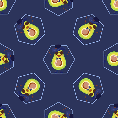Seamless pattern of funny baby avocados. Inverted avocados girls and boys. Fashion textile, kids pattern for school backpack or strap for fitness bracelet, notebook cover. Flat style, vector