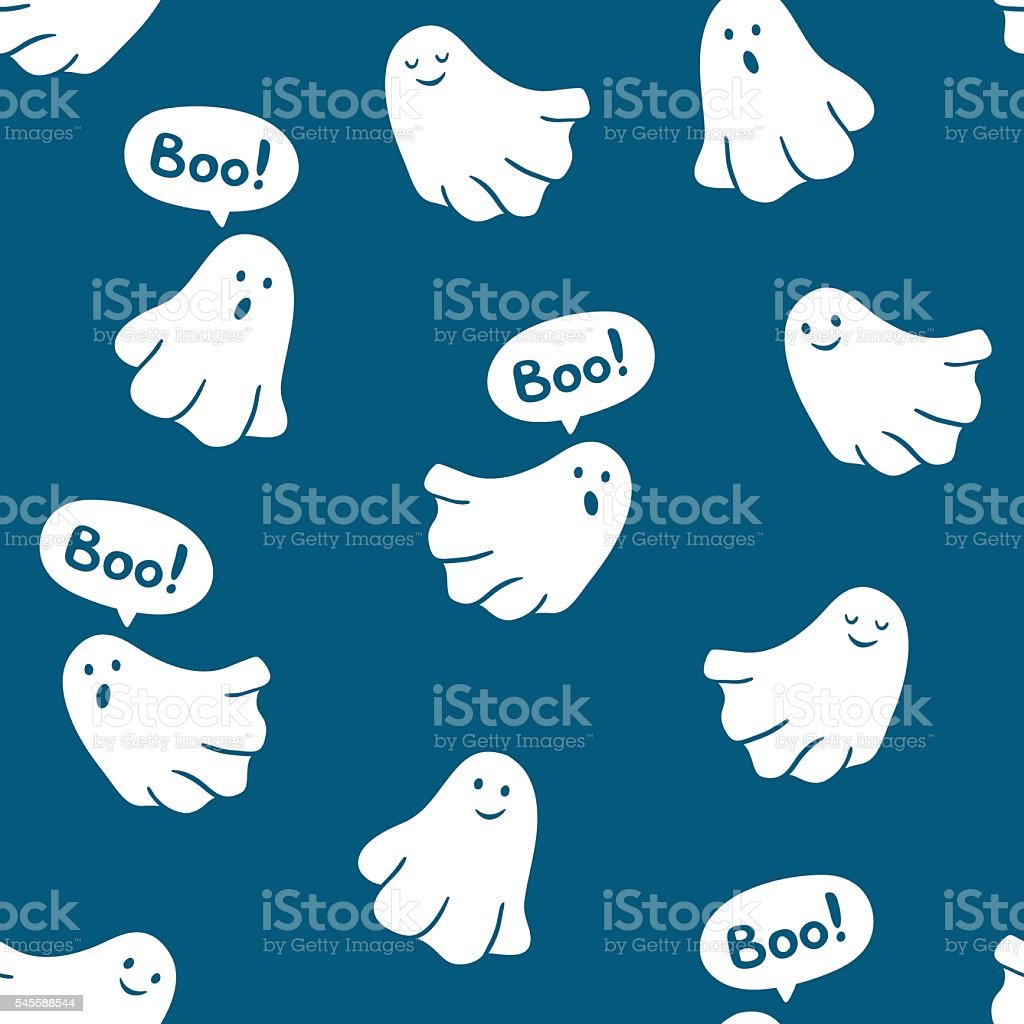 Seamless pattern of funny ghosts saying Boo. vector art illustration