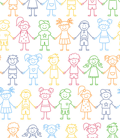 Seamless pattern of funny kids holding hands. Friendship concept. Happy cute doodle children. Vector color illustration in hand drawn style on white background