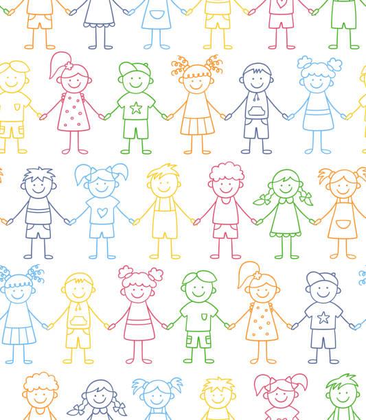 ilustrações, clipart, desenhos animados e ícones de padrão perfeito de crianças engraçadas de mãos dadas. conceito de amizade. crianças felizes e fofas do rabisco - dia das crianças