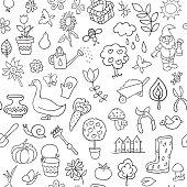 Seamless pattern of gardening objects