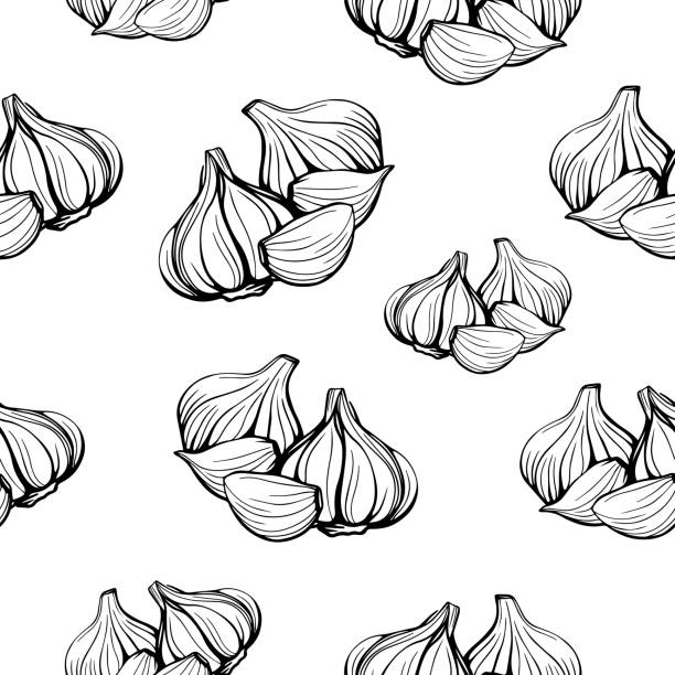 seamless pattern of garlic on a white background.A simple pattern of garlic. vector illustration in the Doodle style seamless pattern of garlic on a white background.A simple pattern of garlic.Hand-drawn vector illustration in the Doodle style. Head of garlic garlic stock illustrations