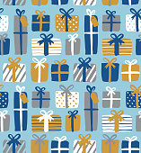 Seamless pattern of gift boxes.