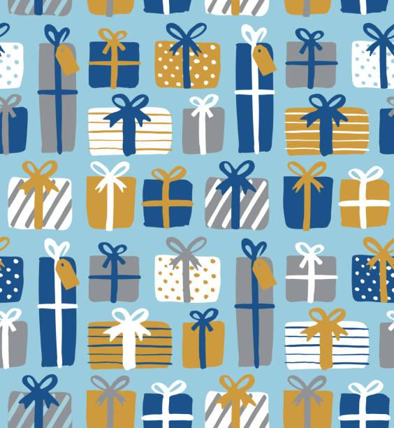 stockillustraties, clipart, cartoons en iconen met naadloos patroon van geschenkdozen. - verjaardagskado