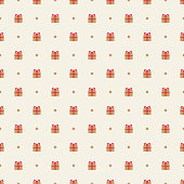Seamless pattern of gift boxes, vector illustration. EPS 10.