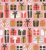Seamless pattern of gift boxes Christmas package wrapping paper seamless pattern with gift boxes.