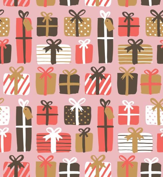 nahtlose muster mit geschenk-boxen - geburtstagsgeschenk stock-grafiken, -clipart, -cartoons und -symbole