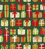 Seamless pattern of gift boxes - Illustration