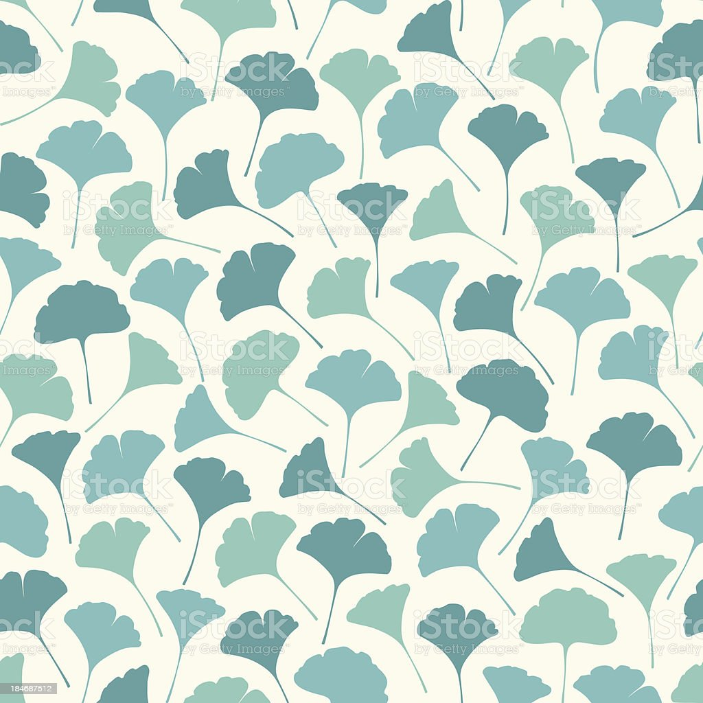 Seamless Pattern of Ginko Leaves vector art illustration