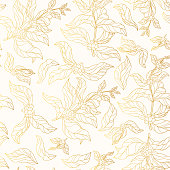 Seamless pattern of golden coffee branches with vintage leaves and beans. Gold background for coffee shop or house. Vector isolated floral illustration.