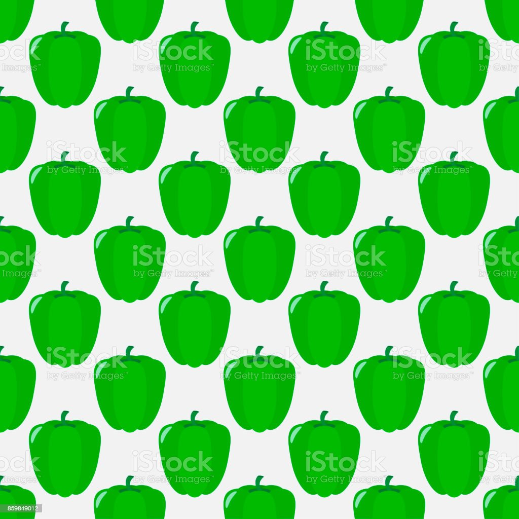 Seamless pattern of green peppers on a light background. vector art illustration