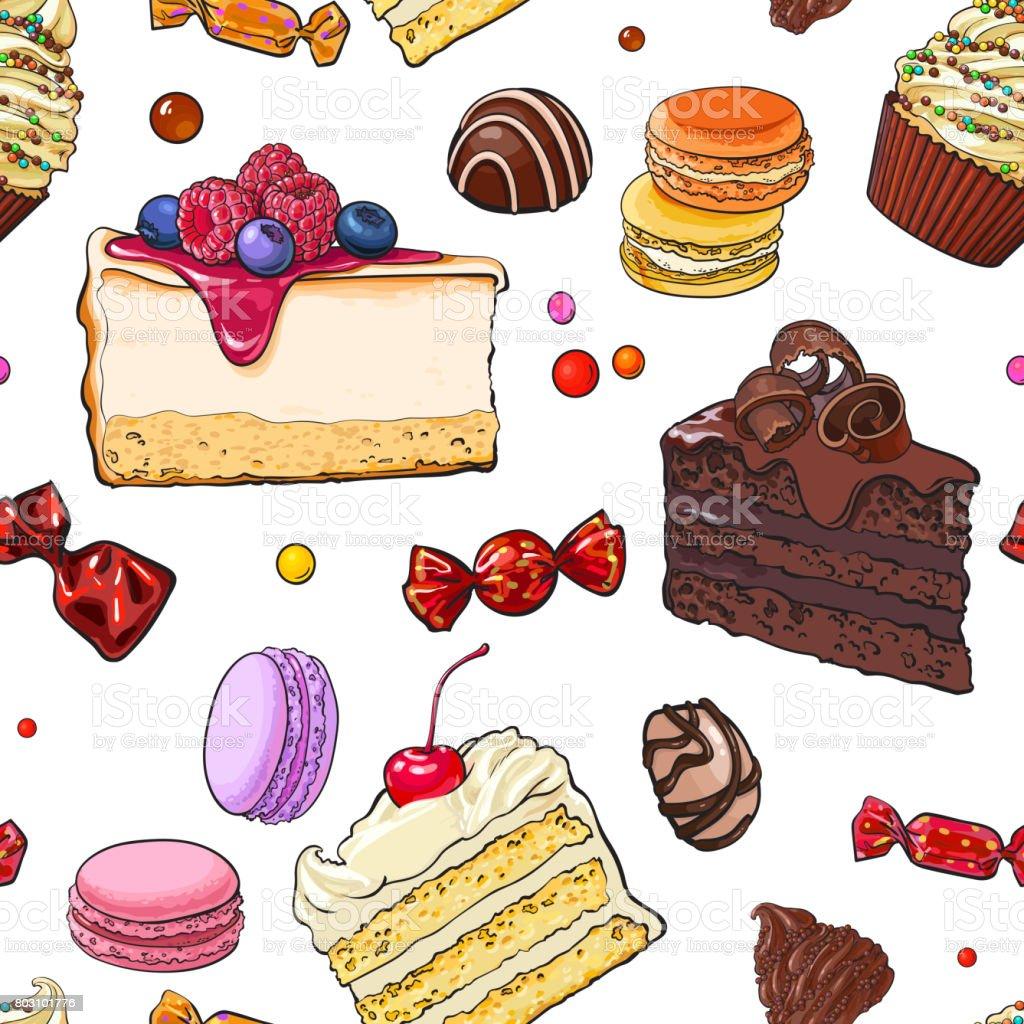 Nahtloses Muster Von Hand Gezeichnet Kuchen Sussigkeiten Makronen Und