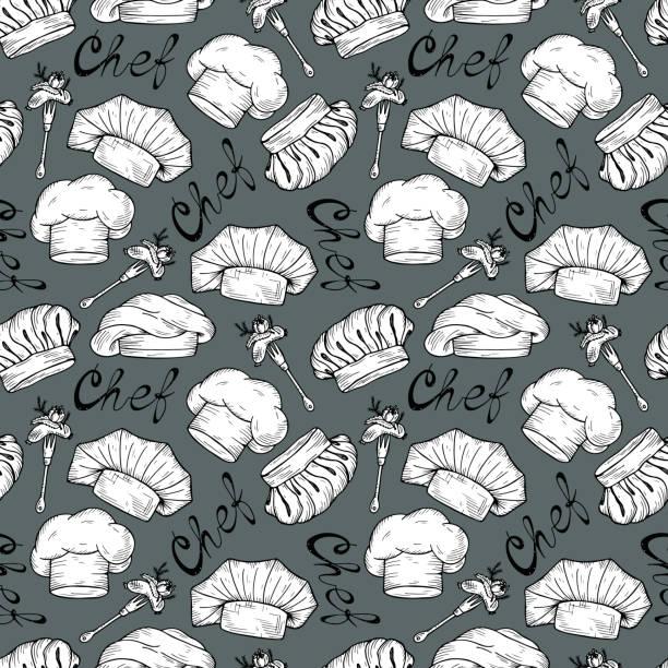 nahtloses muster von hand gezeichnet koch hüte und mützen in verschiedenen formen. küche-hintergrund. kulinarisches konzept - hauben stock-grafiken, -clipart, -cartoons und -symbole