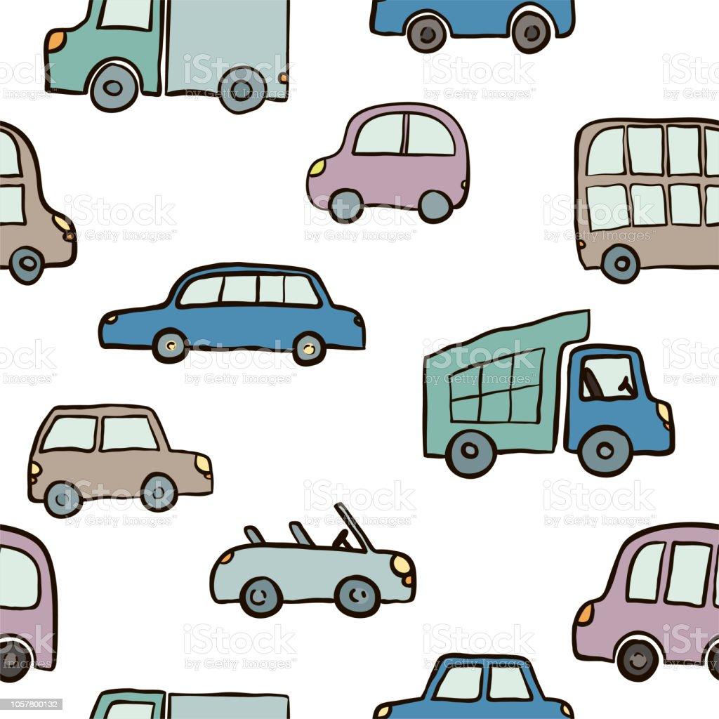 Nahtloses Muster Von Hand Gezeichnet Niedlichen Cartoonautos Für ...