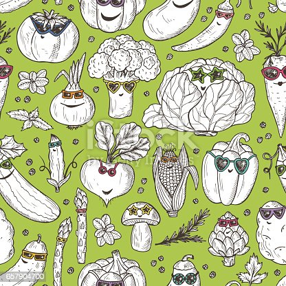 Seamless pattern of Hand drawn doodle Funny Stylish Fashion Vegetables with Sunglasses