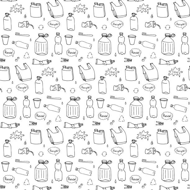 Seamless pattern of hand drawn doodle Stop plastic pollution icons Vector illustration sketchy symbols Cartoon elements Bag Bottle Recycle sign Package Disposal waste Contamination disposable dish vector art illustration