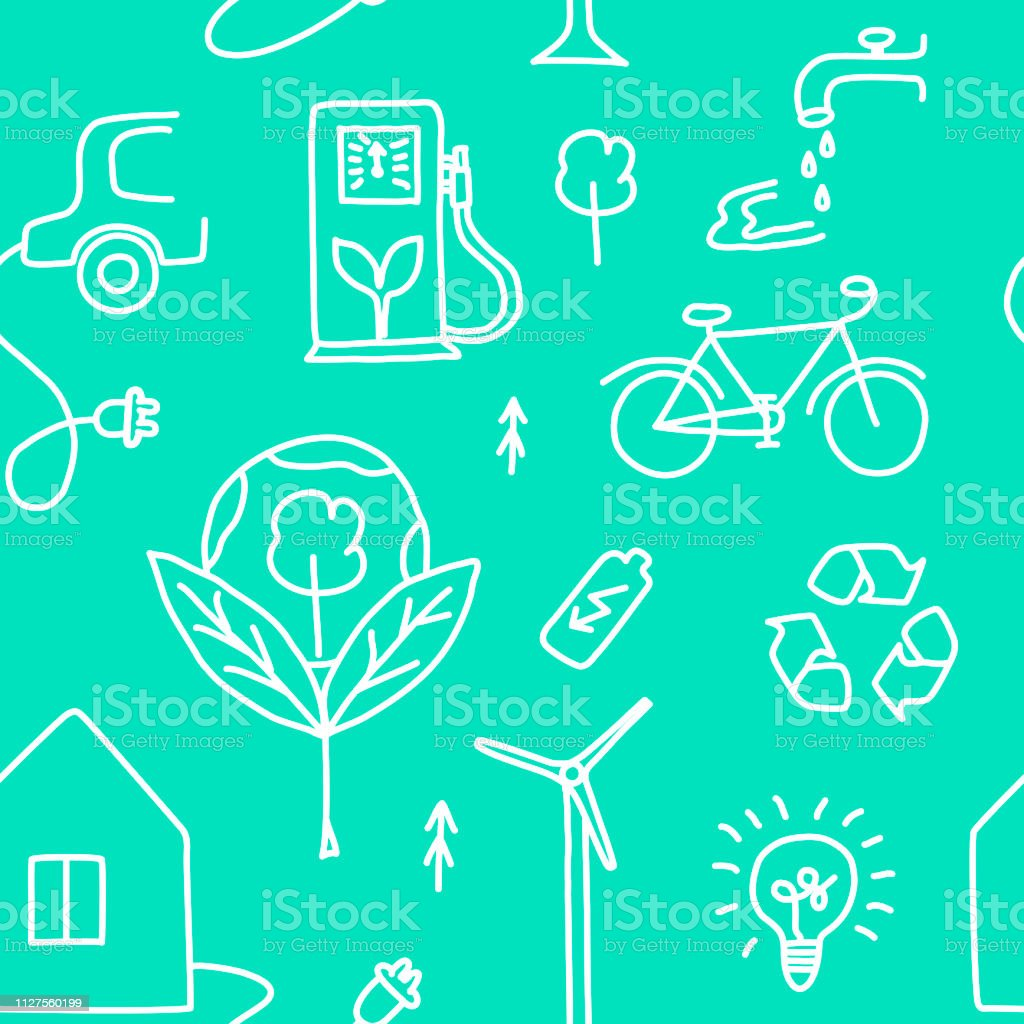Seamless pattern of hand drawn ecology symbols with house, wind power...