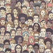 Seamless pattern of hand drawn faces of various ethnicities