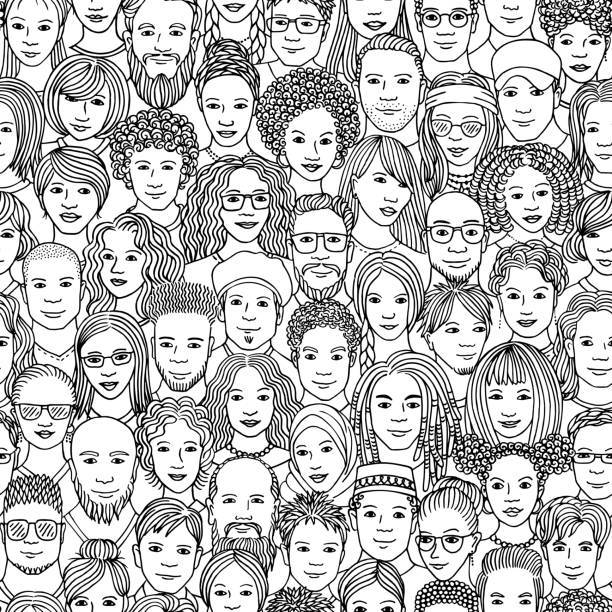 Seamless pattern of hand drawn faces of various ethnicities vector art illustration