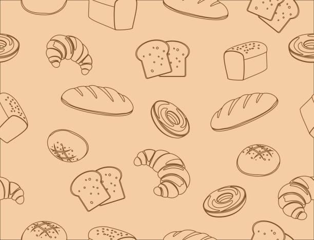 Seamless pattern of hand drawn line art bakery background - vector illustration Seamless pattern of hand drawn line art bakery background - vector illustration bread drawings stock illustrations