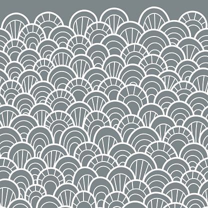 Seamless pattern of hand drawn scales. Abstract seamless pattern. Graphic ornament with diagonal direction. Vector reptile skin texture.