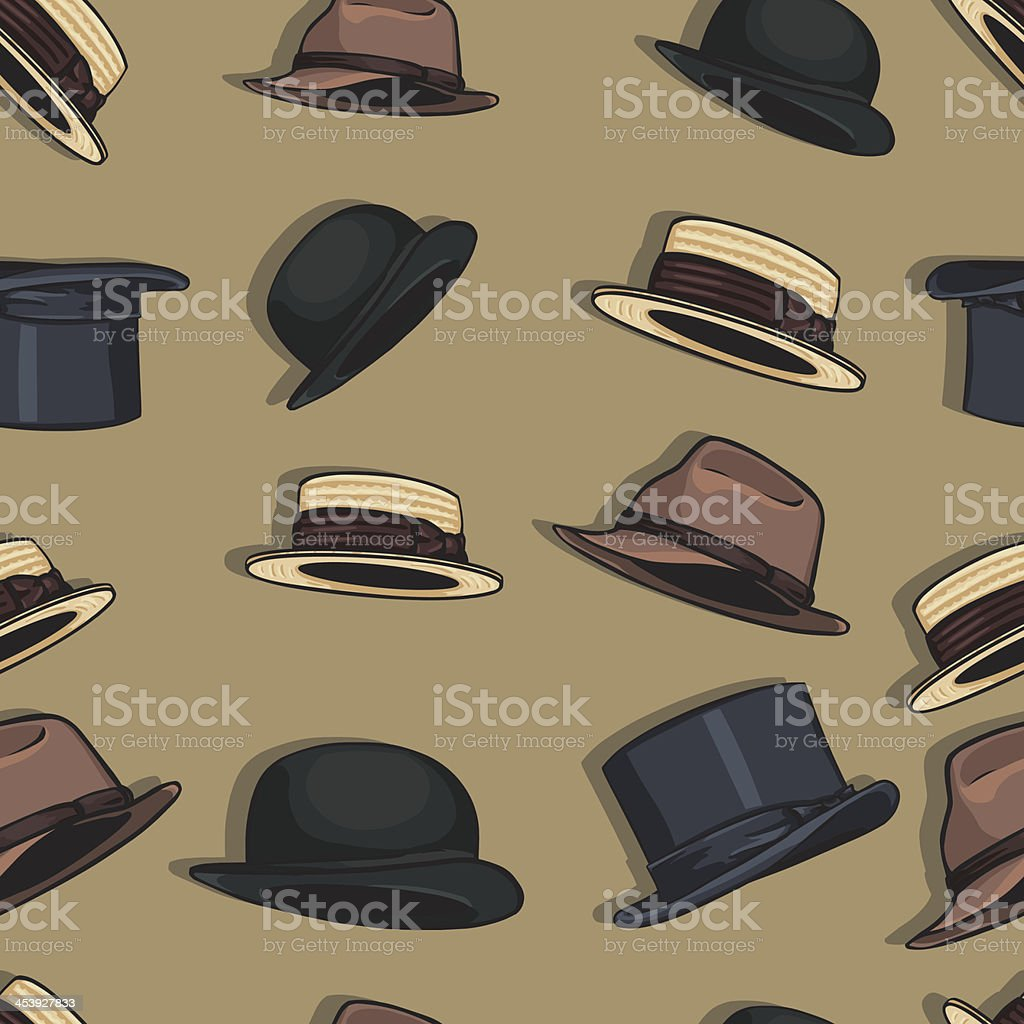 seamless pattern of hats vector art illustration