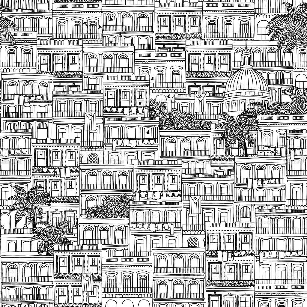 Seamless pattern of Havana houses vector art illustration