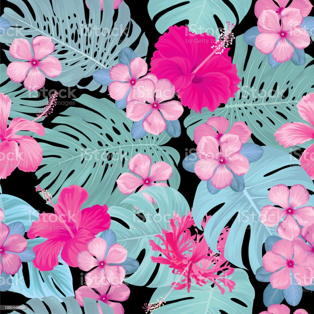 seamless pattern of hibiscus with vinca flowers and tropical